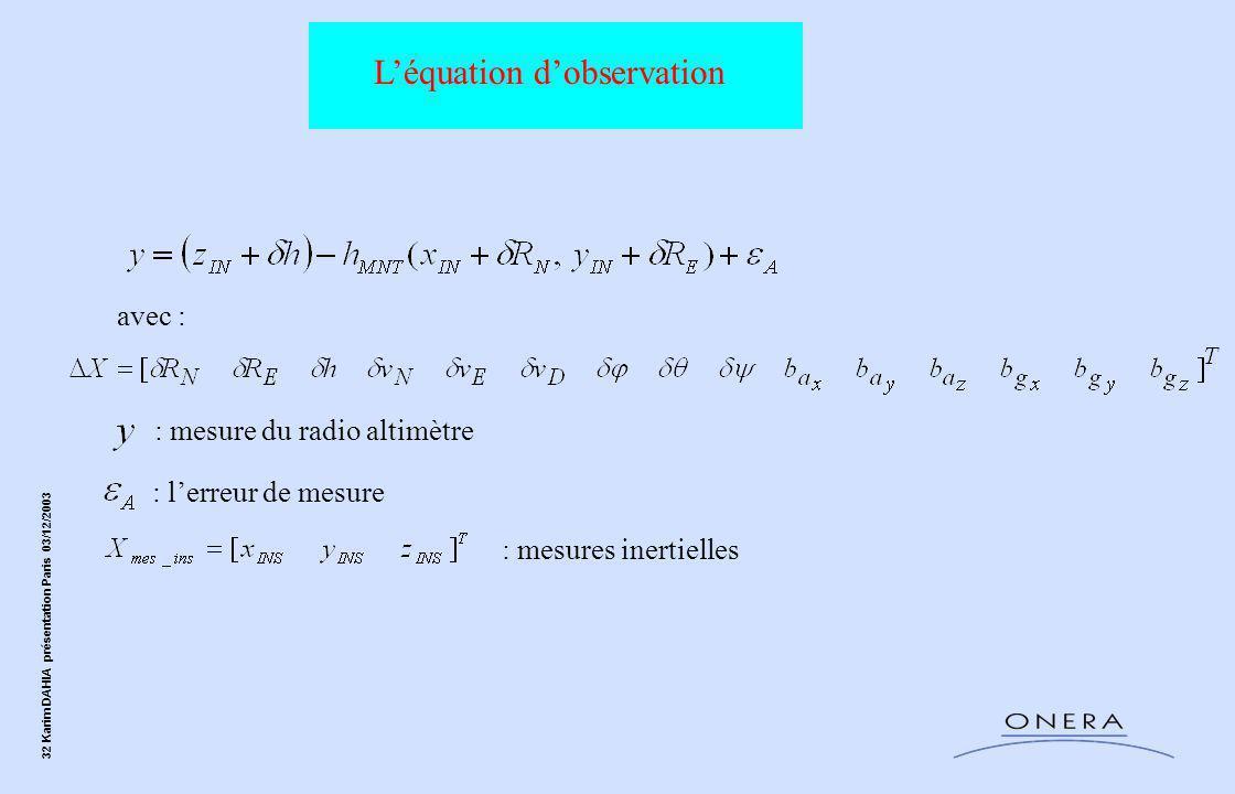 32 Karim DAHIA présentation Paris 03/12/2003 L'équation d'observation avec : : l'erreur de mesure : mesures inertielles : mesure du radio altimètre