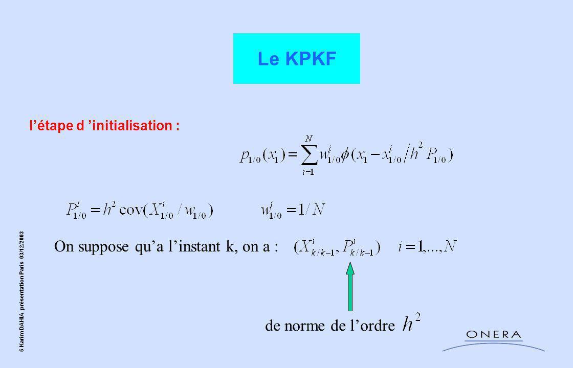 6 Karim DAHIA présentation Paris 03/12/2003 A l'étape de correction : Le KPKF 0 si n'est pas près de Linéarisation de autour de :