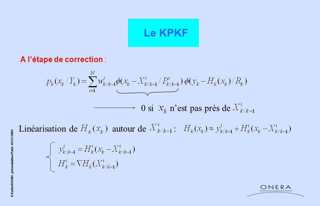 47 Karim DAHIA présentation Paris 03/12/2003 Conclusions Le KPKF réactualise l'ensemble des paramètres positions et vitesses; il prend en compte le caractère multimodal associé aux ambiguïtés de position de l'avion dans le plan horizontal, ce qui n'est pas vrai pour les filtres de recalage classique du type Kalman.