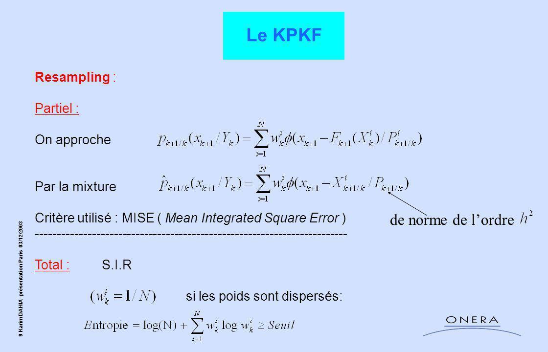 10 Karim DAHIA présentation Paris 03/12/2003 On a la loi de densité suivante : On l'approche par : Resampling partiel :