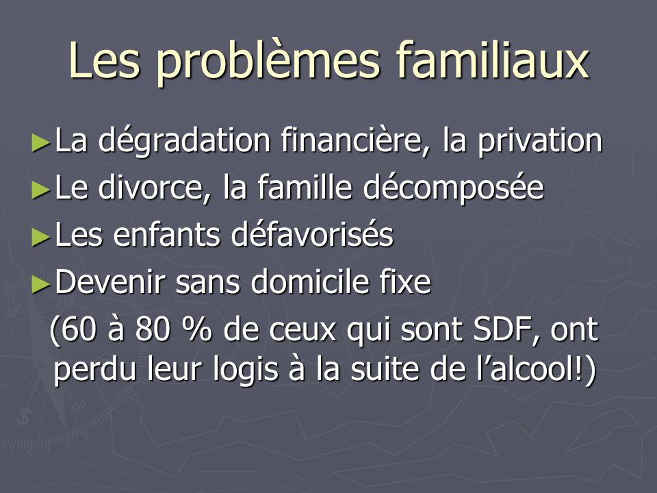 Les problèmes familiaux ► La dégradation financière, la privation ► Le divorce, la famille décomposée ► Les enfants défavorisés ► Devenir sans domicil