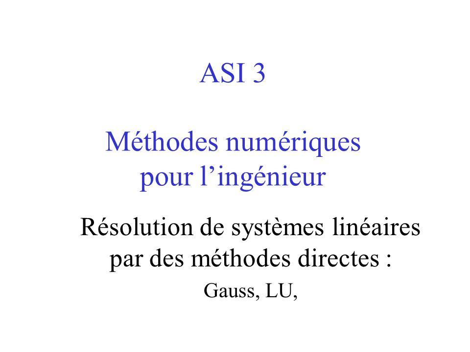 De Gauss à LU Représentons une étape de la triangularisation par la multiplication de A par une matrice M (k) gauss