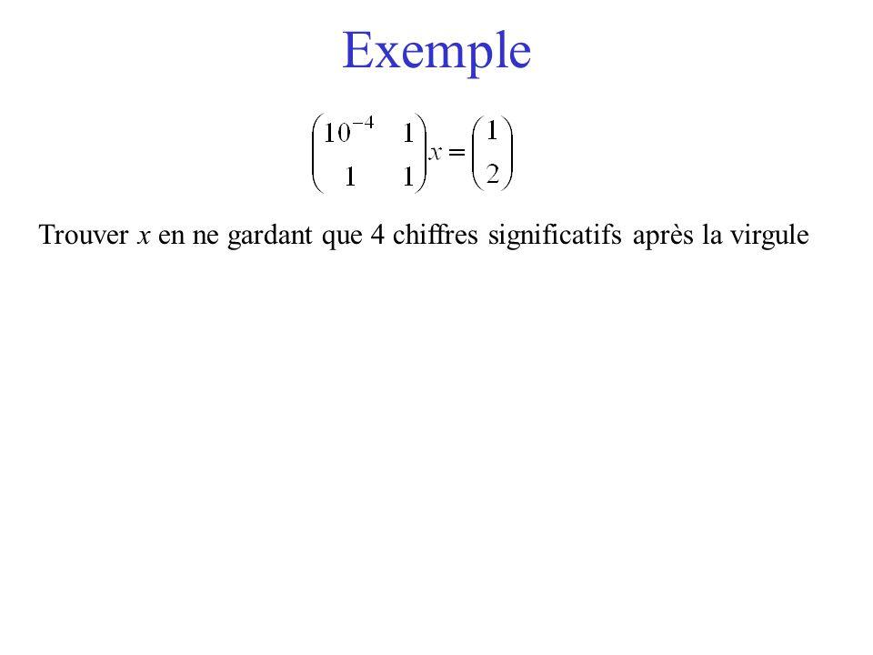 Exemple Trouver x en ne gardant que 4 chiffres significatifs après la virgule Que se passe t'il si on prend le système à l'envers...