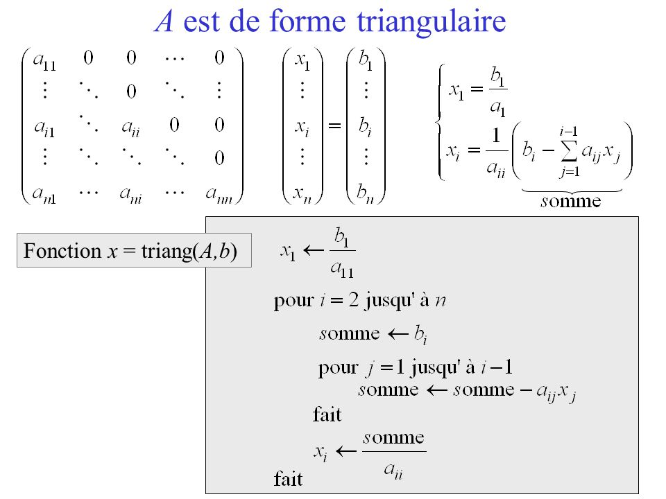 A est de forme triangulaire Fonction x = triang(A,b)