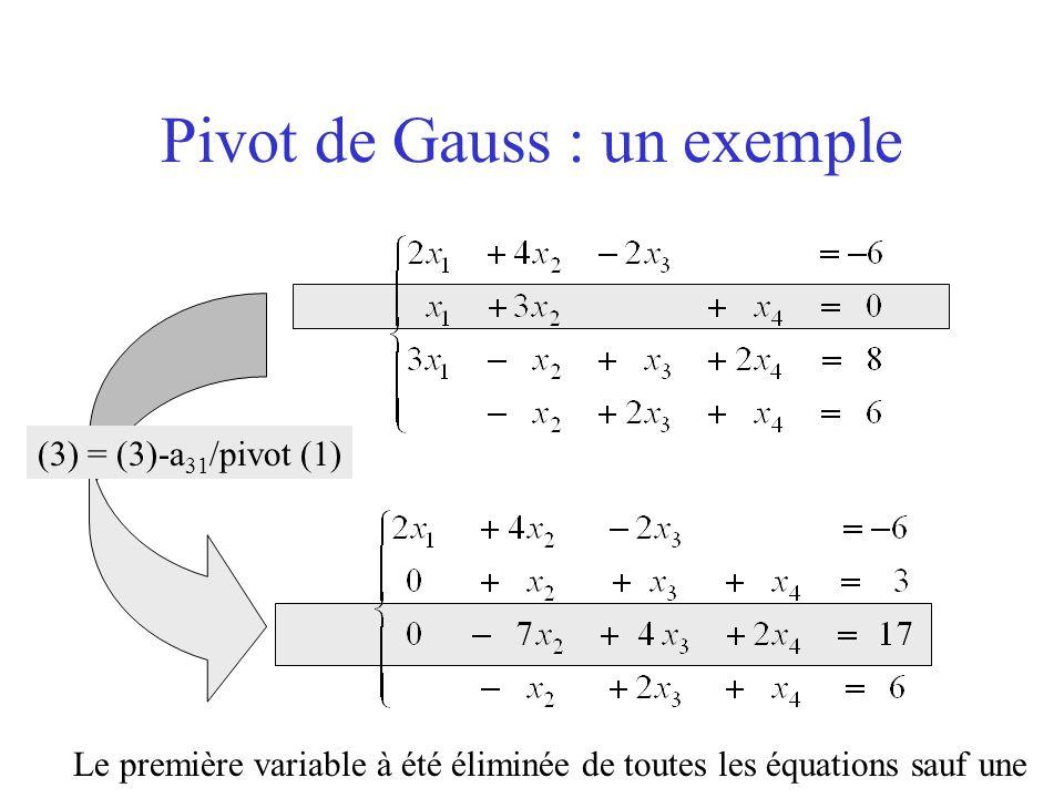 Pivot de Gauss : un exemple (3) = (3)-a 31 /pivot (1) Le première variable à été éliminée de toutes les équations sauf une