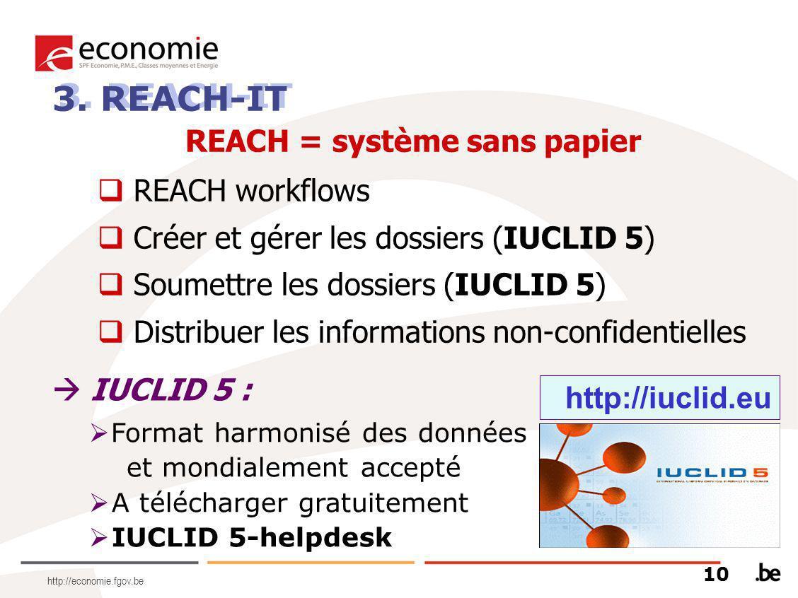  Format harmonisé des données et mondialement accepté  A télécharger gratuitement  IUCLID 5-helpdesk 3. REACH-IT REACH = système sans papier  REAC