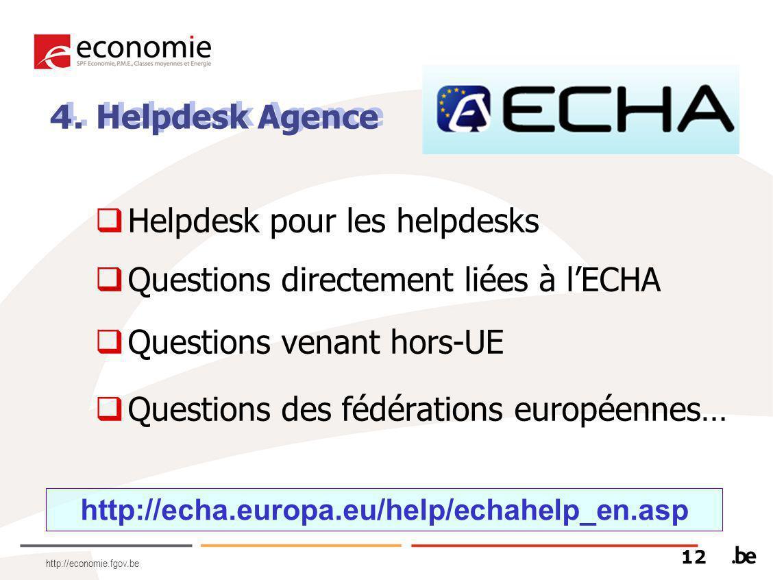 http://economie.fgov.be  Helpdesk pour les helpdesks  Questions directement liées à l'ECHA  Questions venant hors-UE  Questions des fédérations européennes… 4.