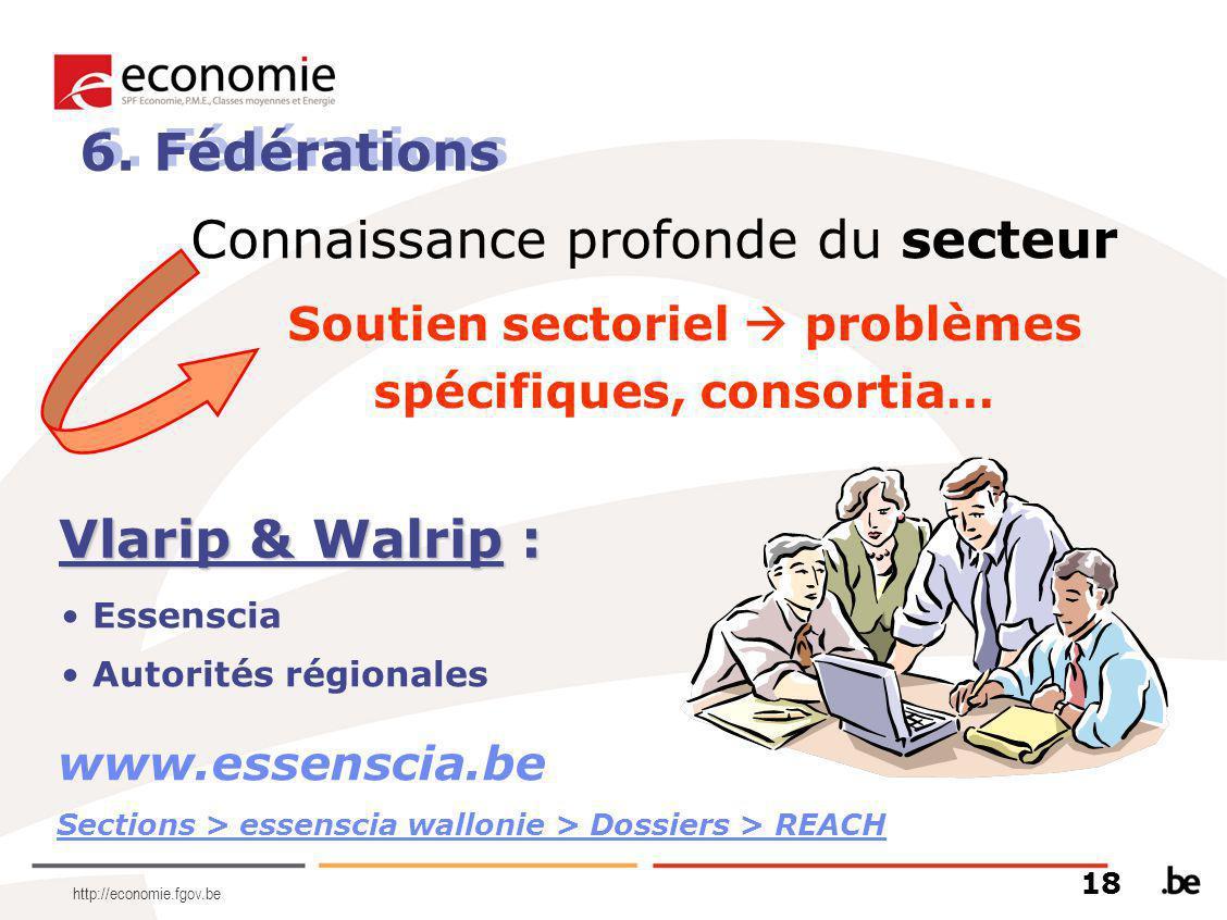 http://economie.fgov.be 6. Fédérations Connaissance profonde du secteur Essenscia Autorités régionales www.essenscia.be Sections > essenscia wallonie