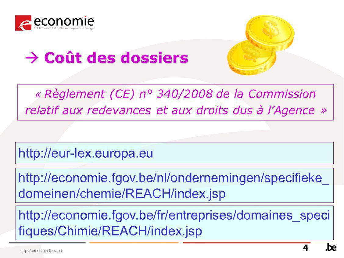 http://economie.fgov.be http://economie.fgov.be/nl/ondernemingen/specifieke_ domeinen/chemie/REACH/index.jsp  Coût des dossiers « Règlement (CE) n° 3