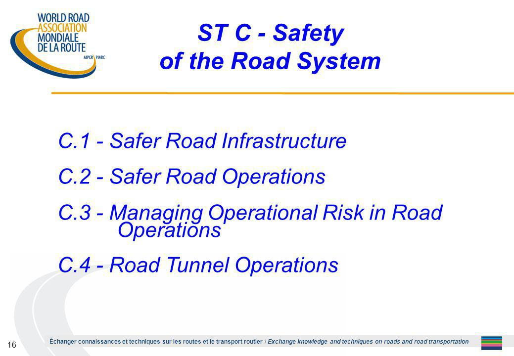 Échanger connaissances et techniques sur les routes et le transport routier / Exchange knowledge and techniques on roads and road transportation 16 ST C - Safety of the Road System C.1 - Safer Road Infrastructure C.2 - Safer Road Operations C.3 - Managing Operational Risk in Road Operations C.4 - Road Tunnel Operations