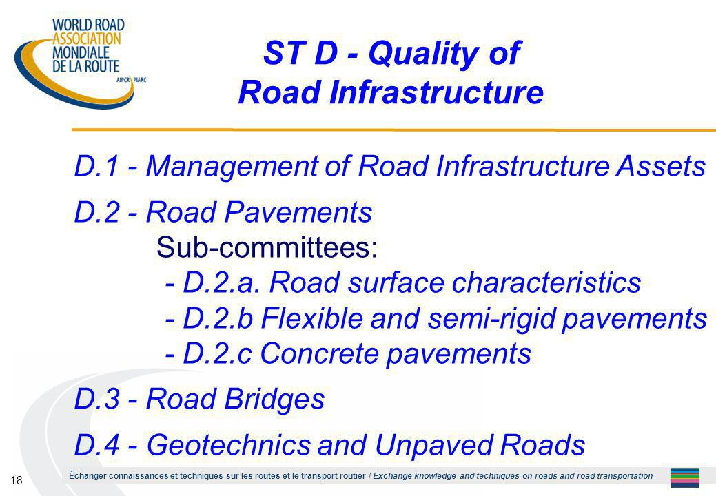 Échanger connaissances et techniques sur les routes et le transport routier / Exchange knowledge and techniques on roads and road transportation 18 ST D - Quality of Road Infrastructure D.1 - Management of Road Infrastructure Assets D.2 - Road Pavements Sub-committees: - D.2.a.