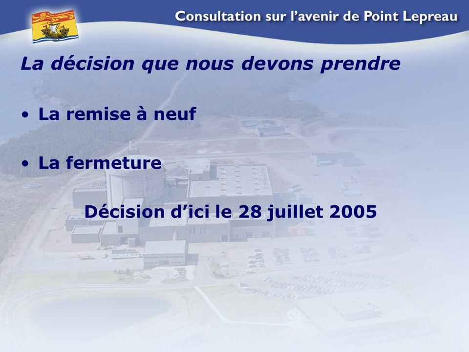 La décision que nous devons prendre La remise à neuf La fermeture Décision d'ici le 28 juillet 2005