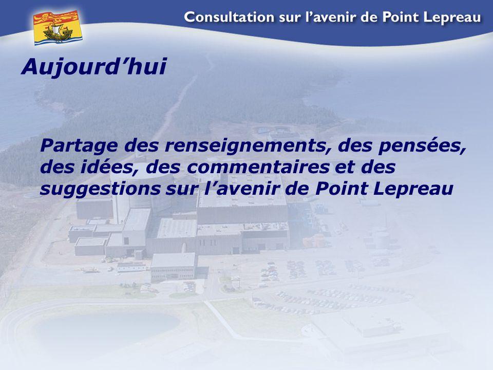 Aujourd'hui Partage des renseignements, des pensées, des idées, des commentaires et des suggestions sur l'avenir de Point Lepreau