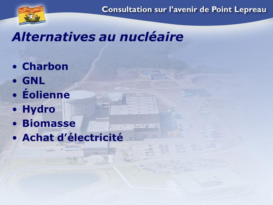 Alternatives au nucléaire Charbon GNL Éolienne Hydro Biomasse Achat d'électricité