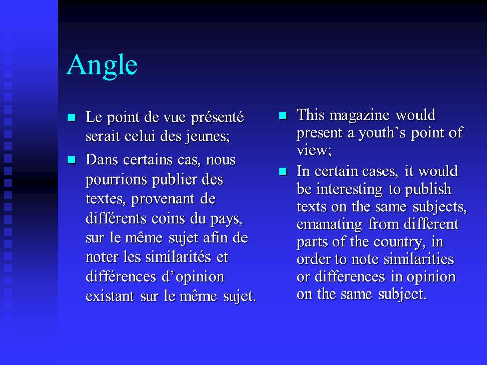 Angle Le point de vue présenté serait celui des jeunes; Le point de vue présenté serait celui des jeunes; Dans certains cas, nous pourrions publier des textes, provenant de différents coins du pays, sur le même sujet afin de noter les similarités et différences d'opinion existant sur le même sujet.
