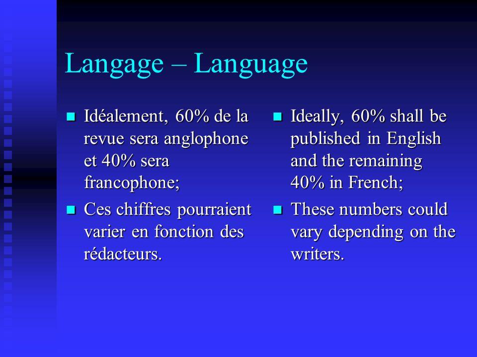 Langage – Language Idéalement, 60% de la revue sera anglophone et 40% sera francophone; Idéalement, 60% de la revue sera anglophone et 40% sera francophone; Ces chiffres pourraient varier en fonction des rédacteurs.