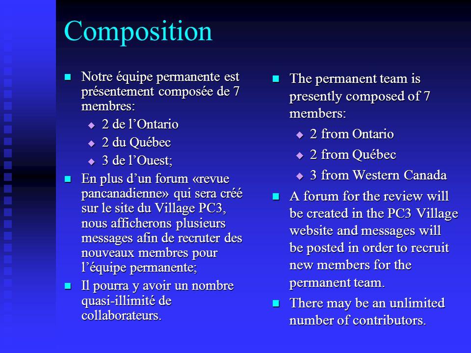 Composition Notre équipe permanente est présentement composée de 7 membres: Notre équipe permanente est présentement composée de 7 membres:  2 de l'Ontario  2 du Québec  3 de l'Ouest; En plus d'un forum «revue pancanadienne» qui sera créé sur le site du Village PC3, nous afficherons plusieurs messages afin de recruter des nouveaux membres pour l'équipe permanente; En plus d'un forum «revue pancanadienne» qui sera créé sur le site du Village PC3, nous afficherons plusieurs messages afin de recruter des nouveaux membres pour l'équipe permanente; Il pourra y avoir un nombre quasi-illimité de collaborateurs.