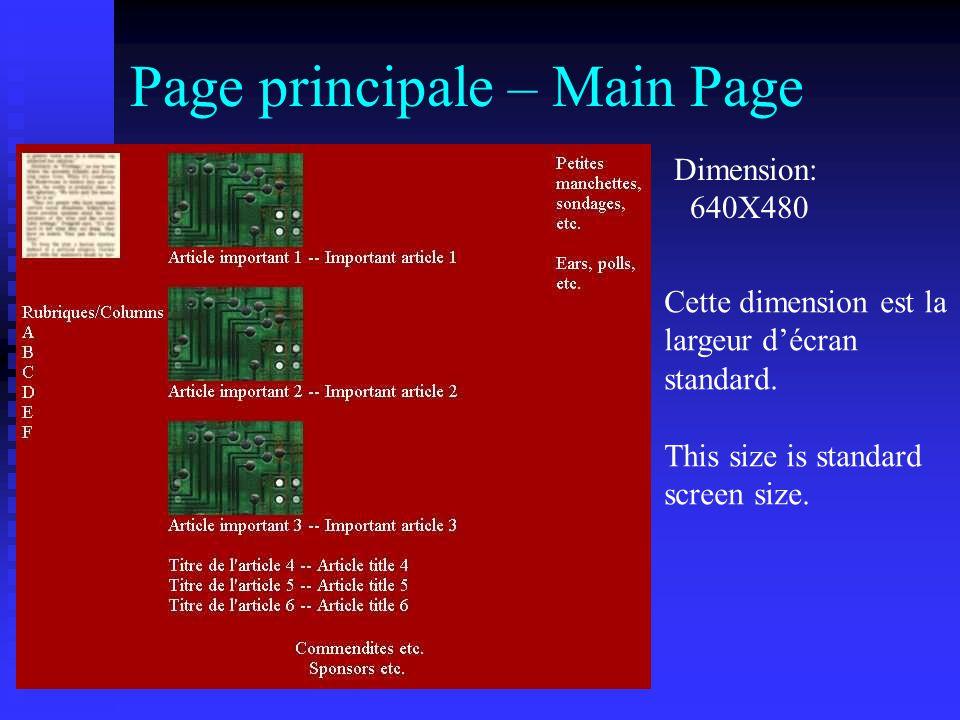 Page principale – Main Page Dimension: 640X480 Cette dimension est la largeur d'écran standard.