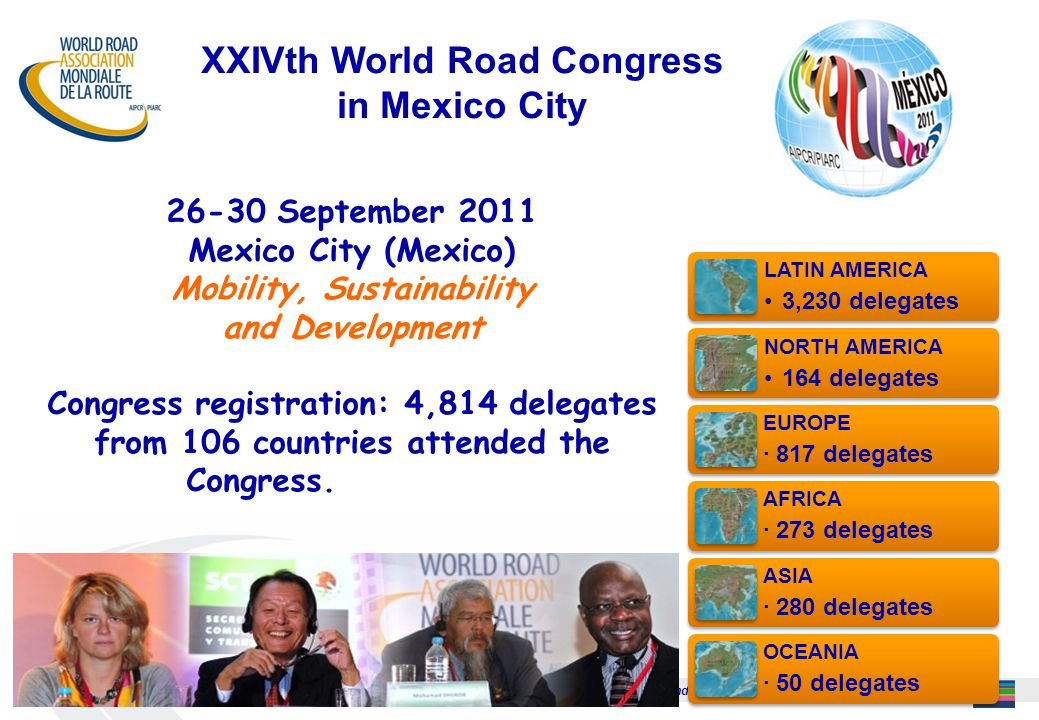 Échanger connaissances et techniques sur les routes et le transport routier / Exchange knowledge and techniques on roads and road transportation 25 26-30 September 2011 Mexico City (Mexico) Mobility, Sustainability and Development CONGRESS REGISTRATIO Congress registration: 4,814 delegates from 106 countries attended the Congress.