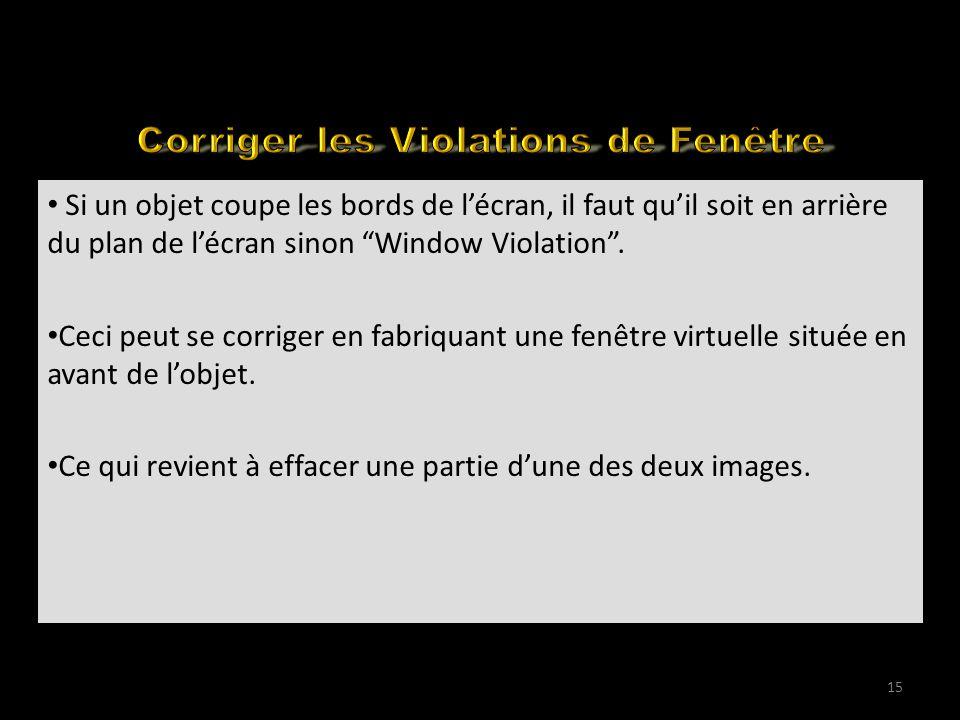 Visualising 3D Movies on YouTube (2) Si un objet coupe les bords de l'écran, il faut qu'il soit en arrière du plan de l'écran sinon Window Violation .
