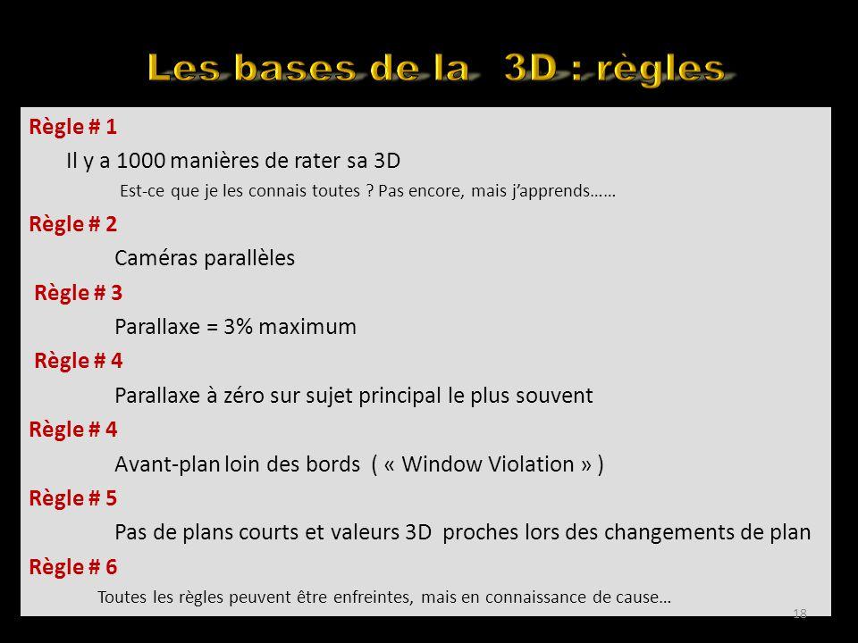 Back to the basics Règle # 1 Il y a 1000 manières de rater sa 3D Est-ce que je les connais toutes .