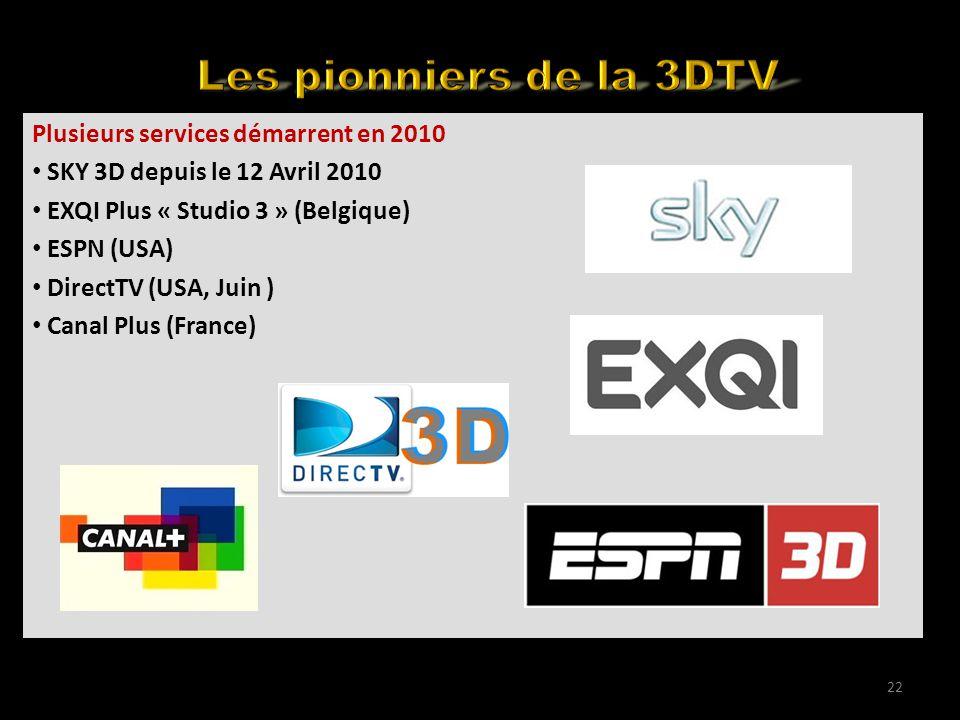 Back to the basics Plusieurs services démarrent en 2010 SKY 3D depuis le 12 Avril 2010 EXQI Plus « Studio 3 » (Belgique) ESPN (USA) DirectTV (USA, Juin ) Canal Plus (France) 22