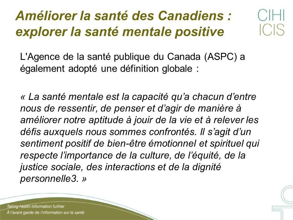 Améliorer la santé des Canadiens : explorer la santé mentale positive L'Agence de la santé publique du Canada (ASPC) a également adopté une définition