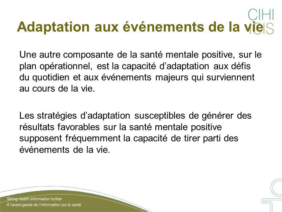 Adaptation aux événements de la vie Une autre composante de la santé mentale positive, sur le plan opérationnel, est la capacité d'adaptation aux défi