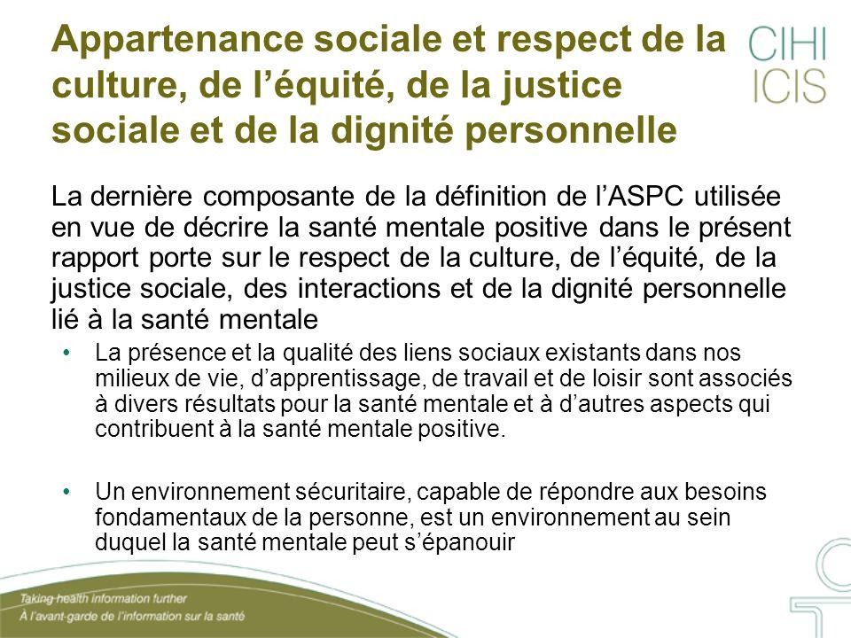 Appartenance sociale et respect de la culture, de l'équité, de la justice sociale et de la dignité personnelle La dernière composante de la définition
