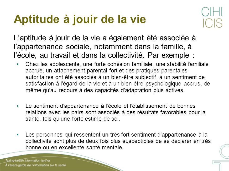 Aptitude à jouir de la vie L'aptitude à jouir de la vie a également été associée à l'appartenance sociale, notamment dans la famille, à l'école, au tr