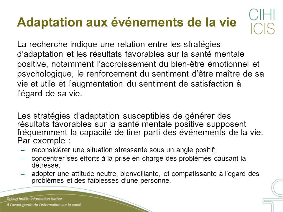 Adaptation aux événements de la vie La recherche indique une relation entre les stratégies d'adaptation et les résultats favorables sur la santé menta