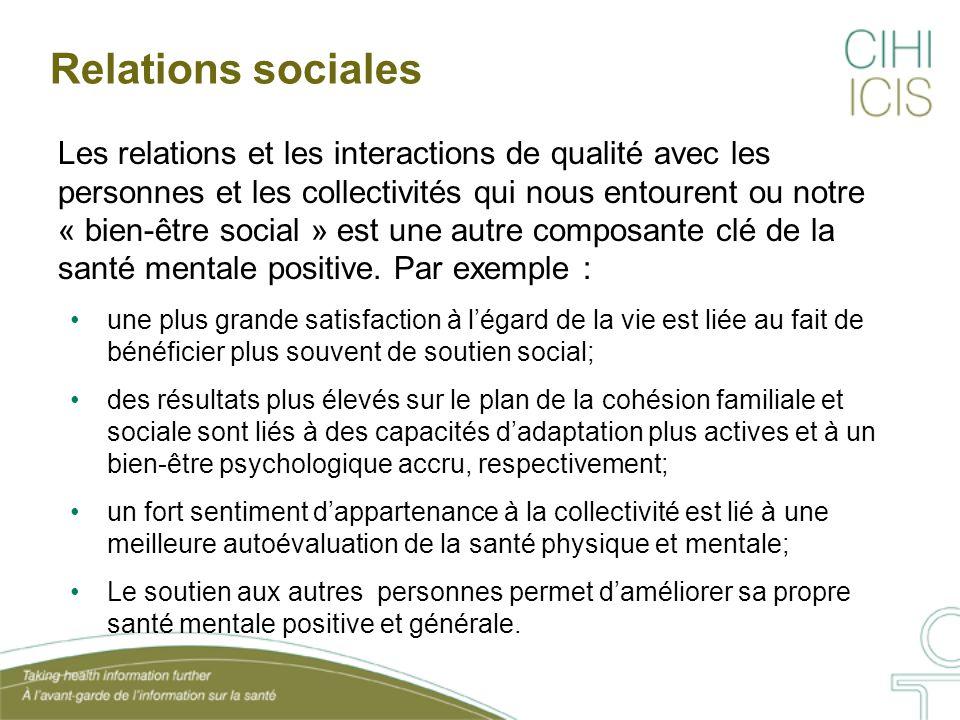Relations sociales Les relations et les interactions de qualité avec les personnes et les collectivités qui nous entourent ou notre « bien-être social