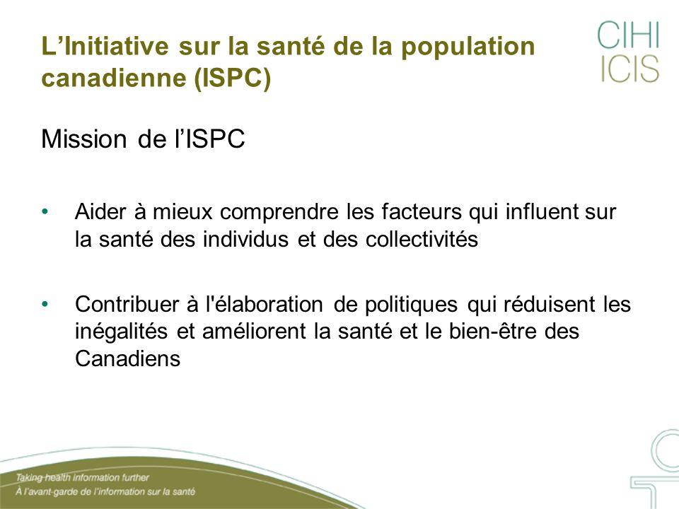 L'Initiative sur la santé de la population canadienne (ISPC) Mission de l'ISPC Aider à mieux comprendre les facteurs qui influent sur la santé des ind