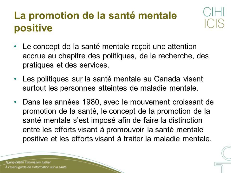 Le concept de la santé mentale reçoit une attention accrue au chapitre des politiques, de la recherche, des pratiques et des services. Les politiques