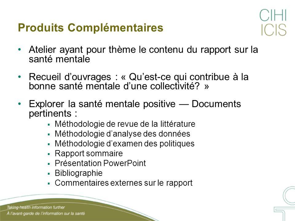 Produits Complémentaires Atelier ayant pour thème le contenu du rapport sur la santé mentale Recueil d'ouvrages : « Qu'est-ce qui contribue à la bonne