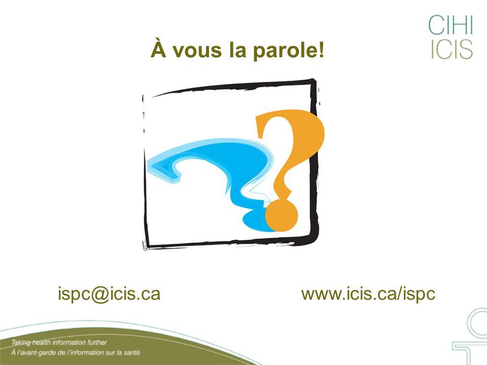 À vous la parole! ispc@icis.ca www.icis.ca/ispc