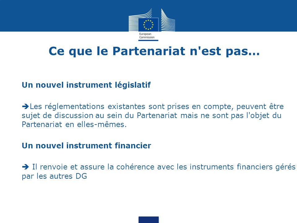 Ce que le Partenariat n est pas… Un nouvel instrument législatif  Les réglementations existantes sont prises en compte, peuvent être sujet de discussion au sein du Partenariat mais ne sont pas l objet du Partenariat en elles-mêmes.