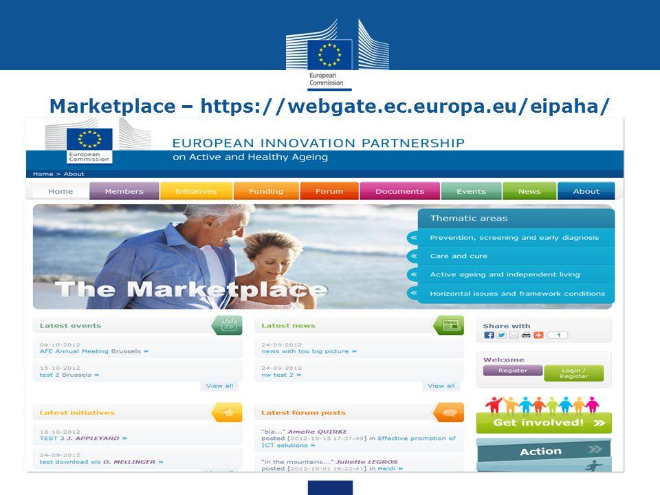 Marketplace – https://webgate.ec.europa.eu/eipaha/