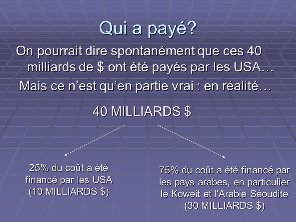 Qui a payé? On pourrait dire spontanément que ces 40 milliards de $ ont été payés par les USA… Mais ce n'est qu'en partie vrai : en réalité… 40 MILLIA