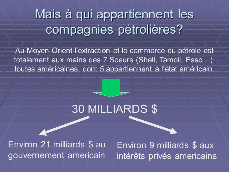 Mais à qui appartiennent les compagnies pétrolières? Au Moyen Orient l'extraction et le commerce du pétrole est totalement aux mains des 7 Soeurs (She