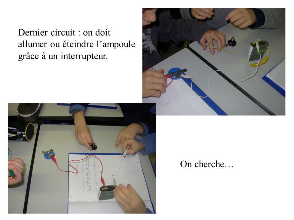 Dernier circuit : on doit allumer ou éteindre l'ampoule grâce à un interrupteur. On cherche…