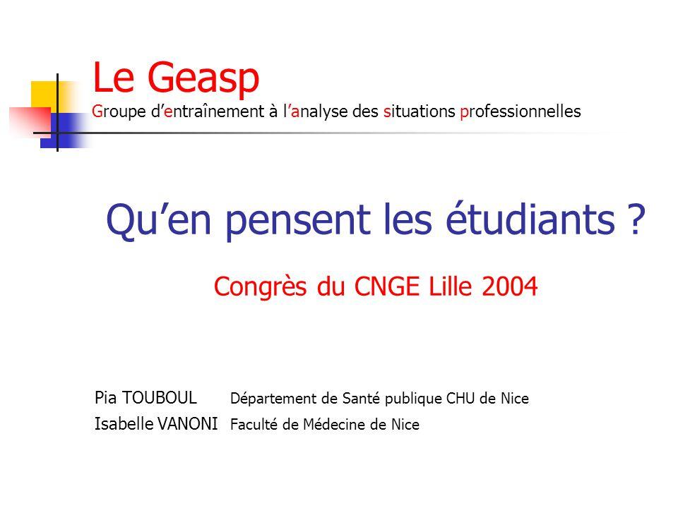 Le Geasp Groupe d'entraînement à l'analyse des situations professionnelles Qu'en pensent les étudiants ? Congrès du CNGE Lille 2004 Pia TOUBOUL Départ