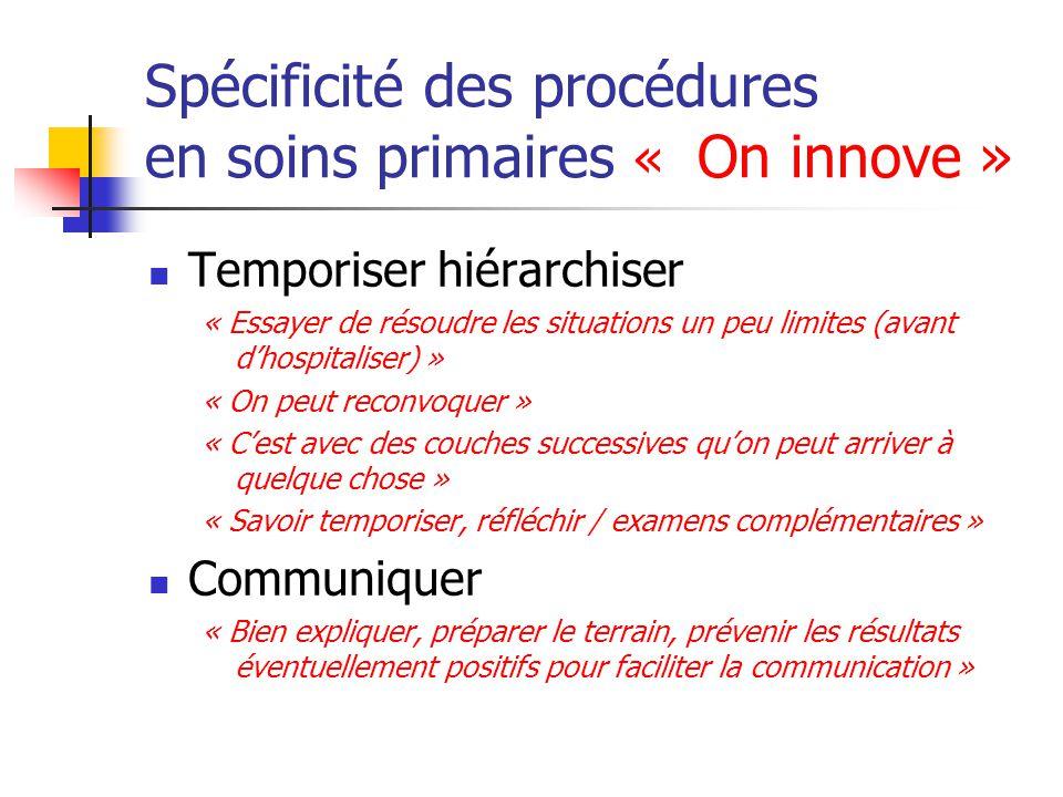 Spécificité des procédures en soins primaires « On innove » Temporiser hiérarchiser « Essayer de résoudre les situations un peu limites (avant d'hospi