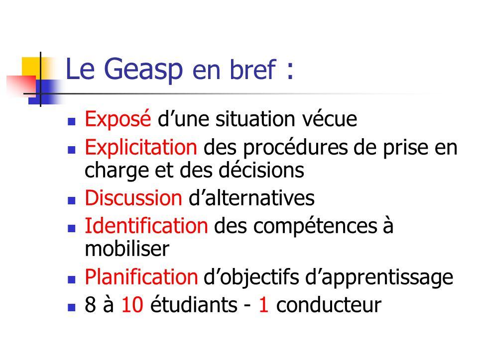 Le Geasp en bref : Exposé d'une situation vécue Explicitation des procédures de prise en charge et des décisions Discussion d'alternatives Identificat