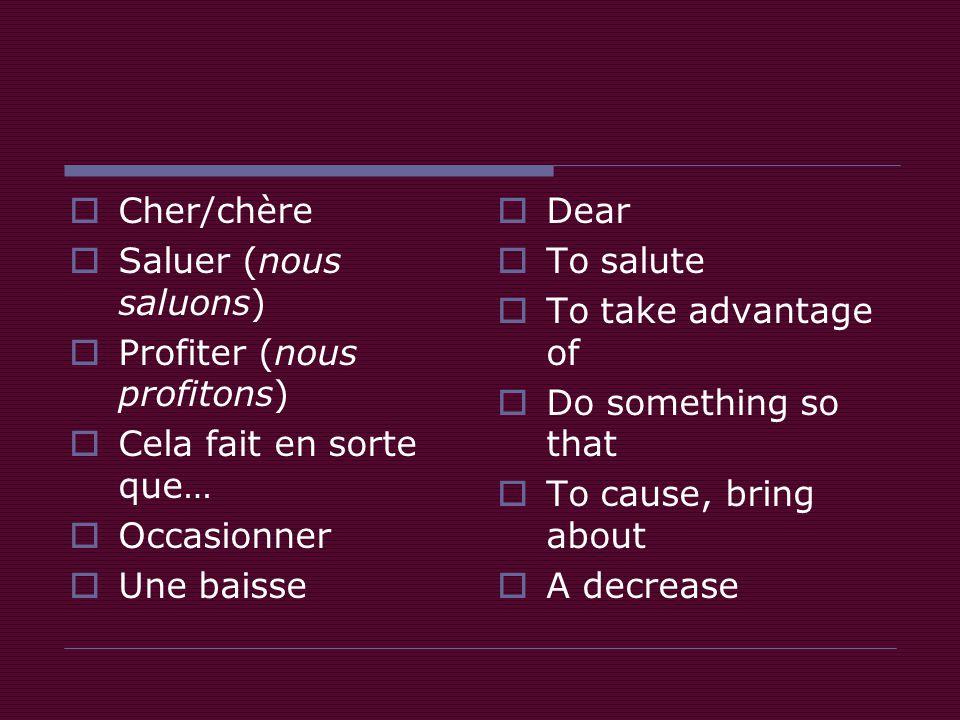 Vocabulaire utile  Cherchez les mots suivants dans la lettre d'opinion contexte  Déterminez leur sens selon le contexte  Cher/chère  Saluer (nous