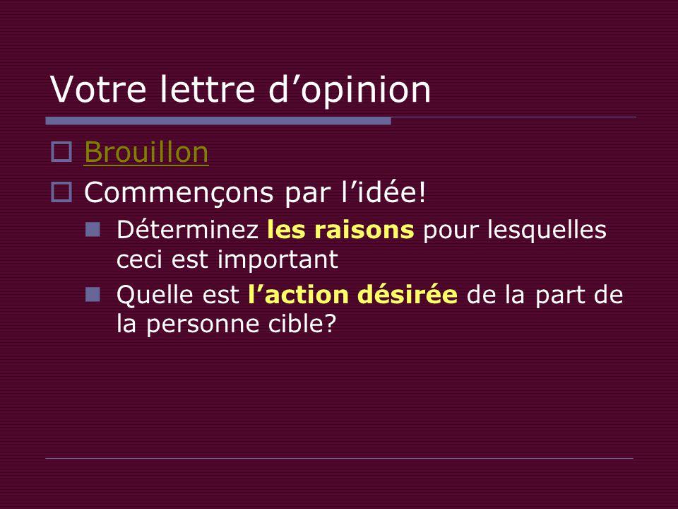 Votre lettre d'opinion  Brouillon Brouillon  Commençons par l'idée.
