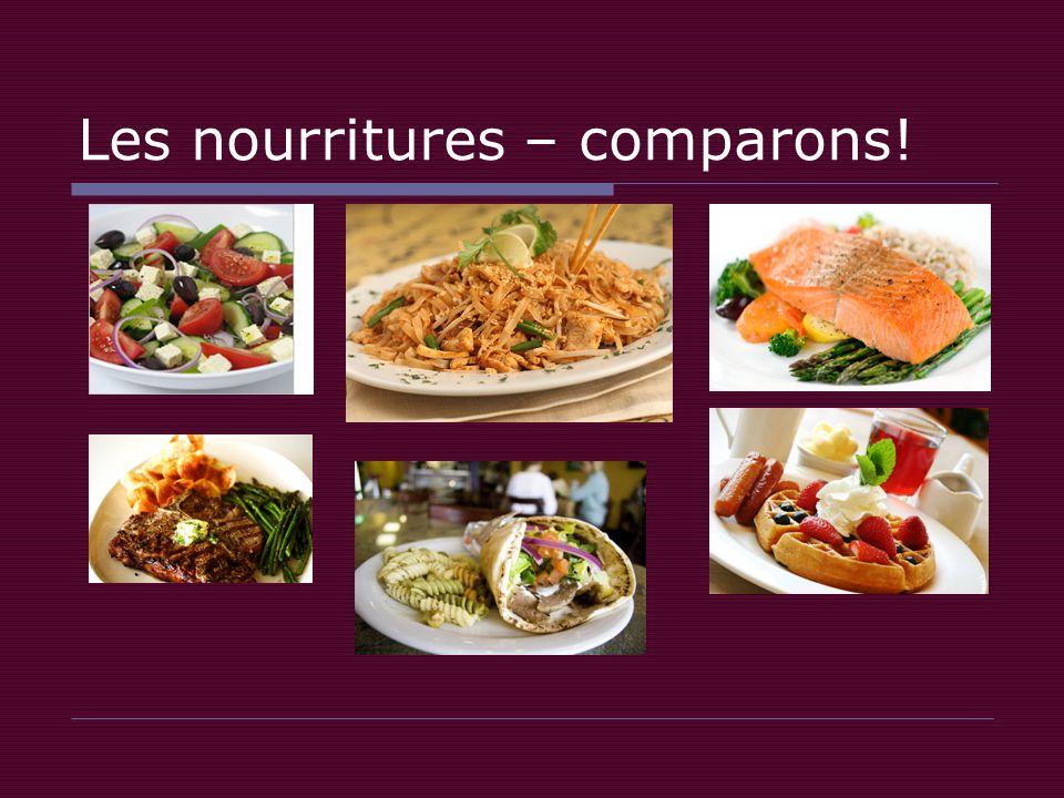 Les nourritures – comparons!