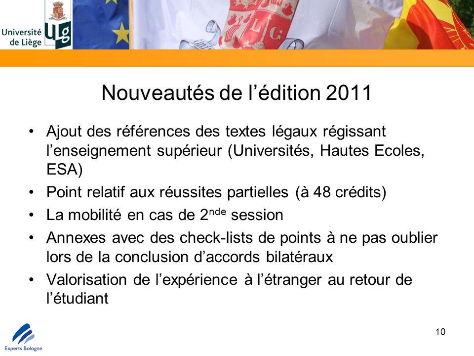 Nouveautés de l'édition 2011 Ajout des références des textes légaux régissant l'enseignement supérieur (Universités, Hautes Ecoles, ESA) Point relatif