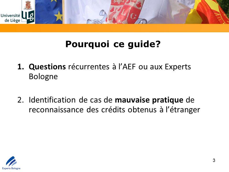 Pourquoi ce guide? 1.Questions récurrentes à l'AEF ou aux Experts Bologne 2.Identification de cas de mauvaise pratique de reconnaissance des crédits o
