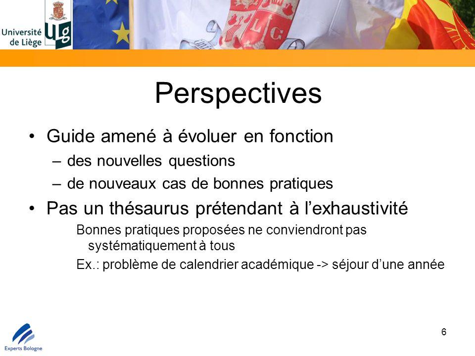 Perspectives Guide amené à évoluer en fonction –des nouvelles questions –de nouveaux cas de bonnes pratiques Pas un thésaurus prétendant à l'exhaustiv